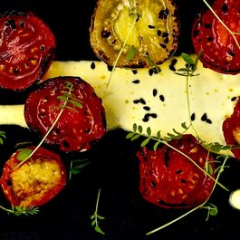 Charred Tomatoes and Candied Ginger Tomatoes with Saffron Dressing