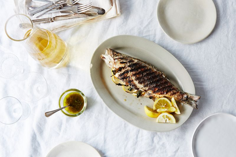 Grilled Whole Branzino with