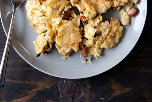 Matzo Brei with Bacon and Maple Syrup