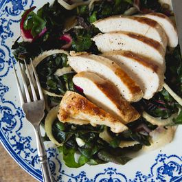 Pan-Roasted Chicken with Chard, Shaved Fennel and Herb Yogurt