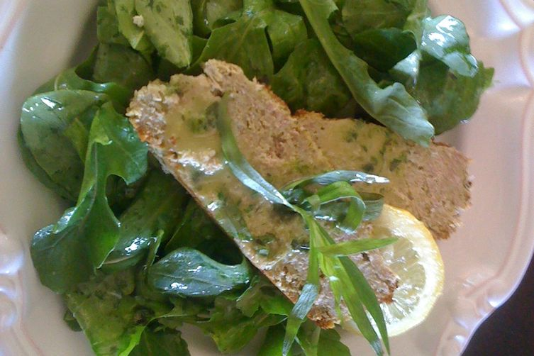 Veal and Anchovy Meatloaf (shown on a bed of arugula w/ lemon tarragon vinaigrette)