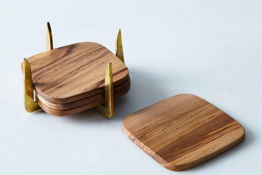 Pure Brass & Teak Coasters (Set of 4)