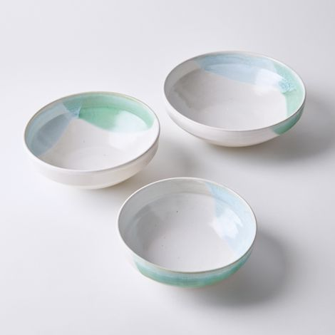 Handmade Double Dip Nesting Serving Bowls