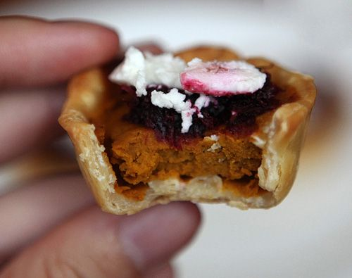 Pumpkin Chipotle Tartelette with Beetroot Jam