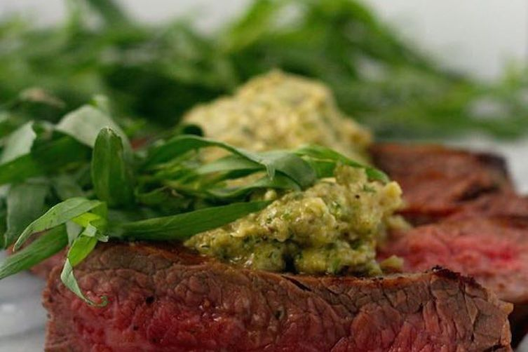 Flank Steaks with Shallot and Tarragon Pesto