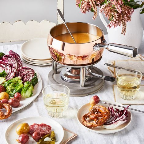 Copper & Concrete Fondue Set