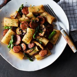 Rigatoni with Chorizo, Wild Mushrooms and Asparagus