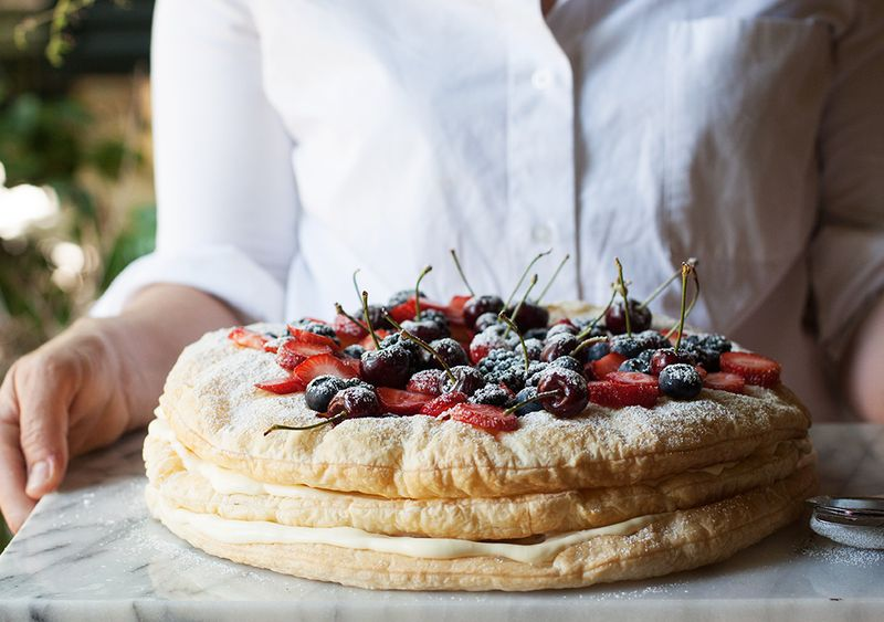 Homemade millefoglie cake, the Italian way, serves a big crowd.