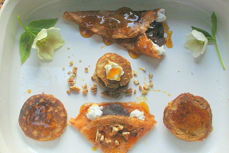 Cardamom Thai Tea Crepes filled with Azuki Cream, Coconut and Pecans