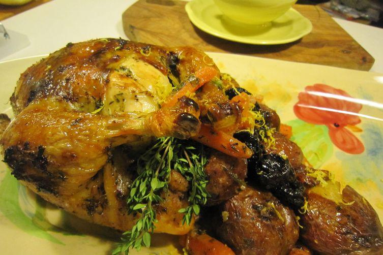 Lemon Chicken Roasted on Vegetable Nest