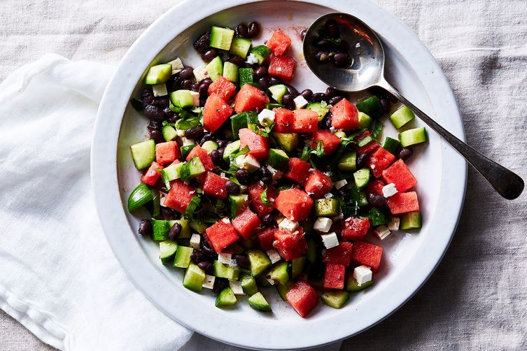 Black Bean with Melon(s) and Feta Salad