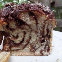 Lamington babka - chocolate and coconut vegan brioche