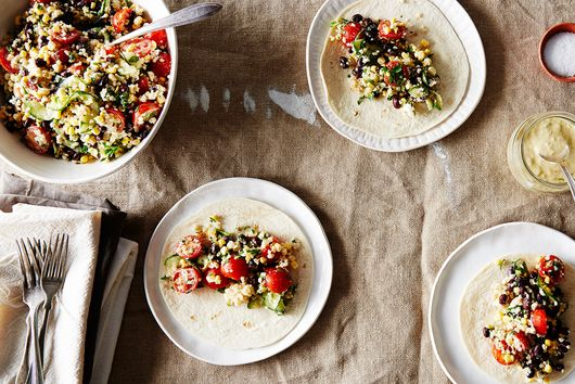 Tabbouleh Tacos with Tahini-Garlic Dressing