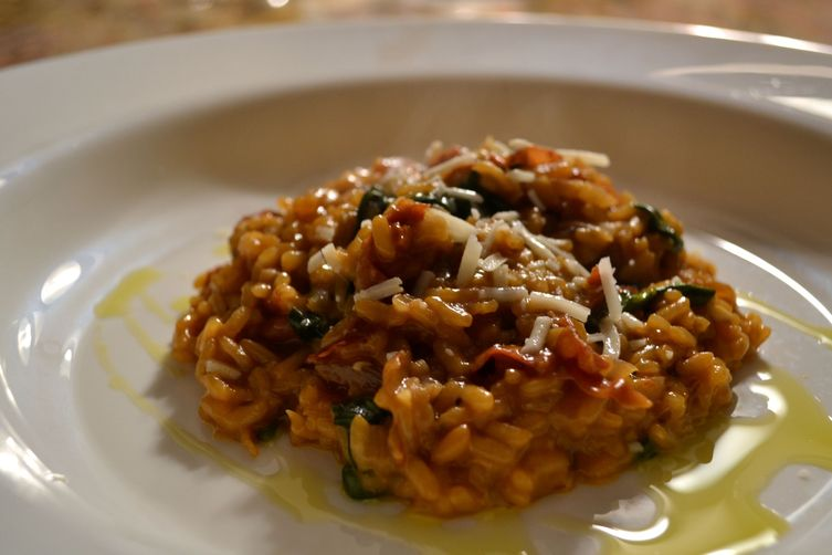 Risotto with Speck and Arugula