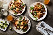 Curry-Coconut Shrimp and Rice Salad with Pomegranate and Lime