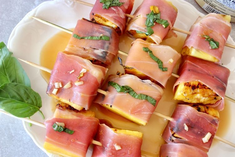 Prosciutto Wrapped Grilled Pineapple Skewers