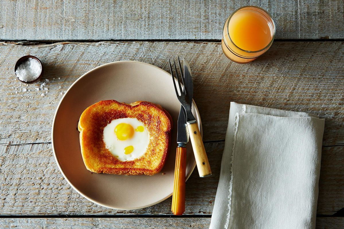 Image result for piece of bread with egg in hool
