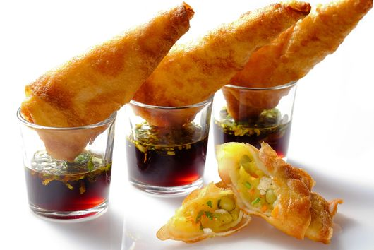 Vegetarian Curry Samosas with Tamarind Dip