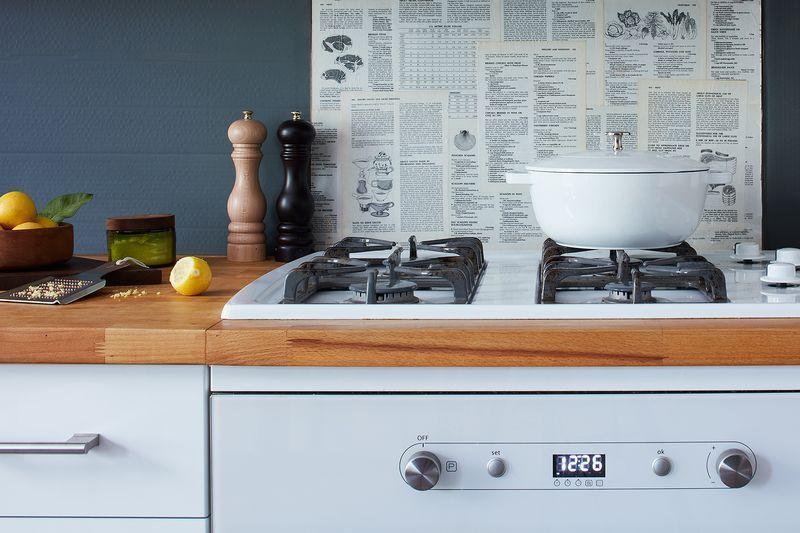 A Renter Friendly Backsplash To Make From A Vintage Cookbook