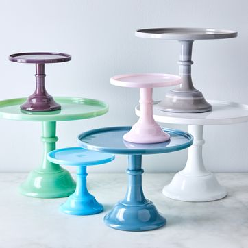 Mosser Glass Cake Stand With Dome, Mini Glass Cupcake Stand With Dome