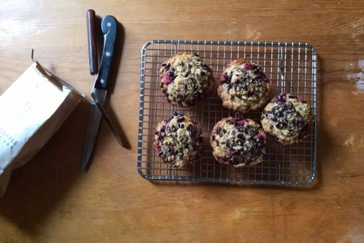Brown Butter Raspberry Rye Cacao Muffins