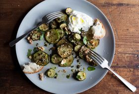 Sautéed Zucchini with Basil, Mint, and Capers