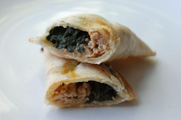 Arugula Pesto, Spicy Pork, and Spinach Pockets