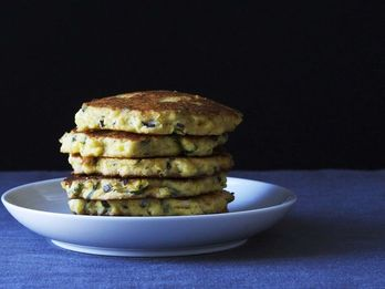 Summer Corn Cakes + Grilled Bread With Spinach Pesto