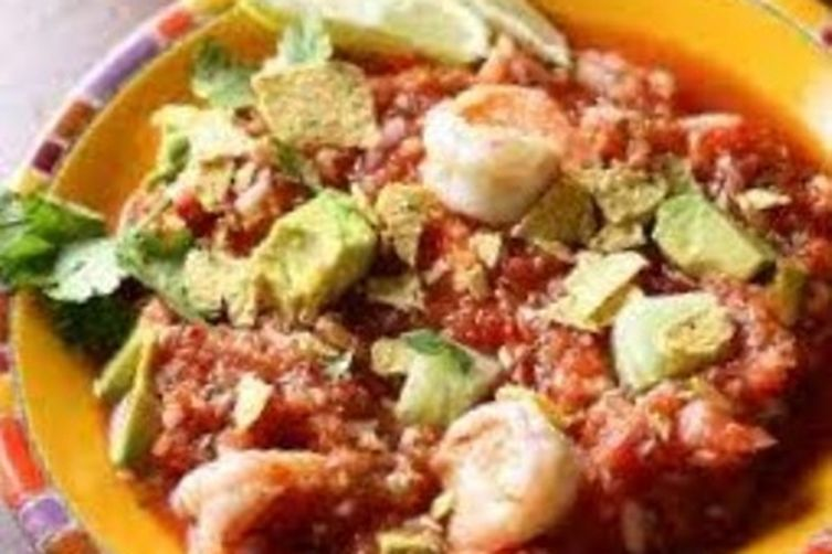 Chunky Gazpacho with Shrimp Ceviche and Avocado
