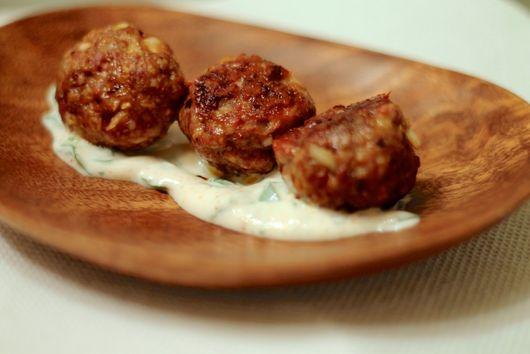 Harissa Spiced Meatballs with Cilantro Yogurt