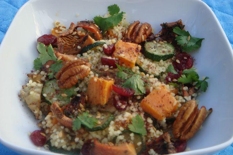 Saffron Couscous with Roast Autumn Vegetables, Pecans, Cranberries and Figs