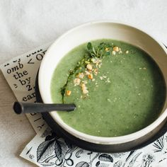 Spring Onion, Spinach and Pine Nut Soup with Toasted Cumin