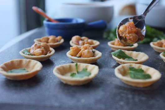 "Chickpea ""Chole"" canapes"