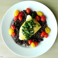 Sea Bass with Salsa Verde, Sauteed Cherry Tomatoes, and Black Quinoa