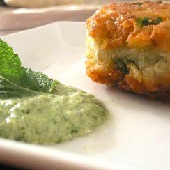 Indian Spiced Potato Pancake with Mint & Yogurt Chutney