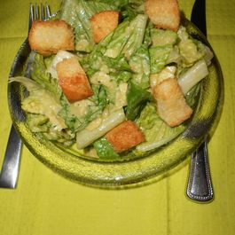 Green Dressed Caesar Salad with Shaved Apples