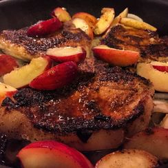 Pork Chops with Peaches, Sweet Onions and Shallots