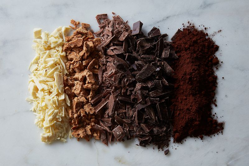 We use whole chocolate bars and chop them up.