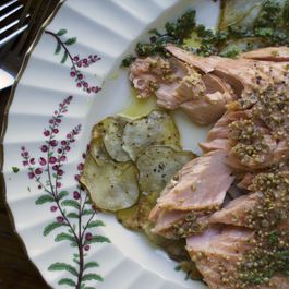 Roasted Salmon with Sunchoke Galettes and Parsley Vinaigrette
