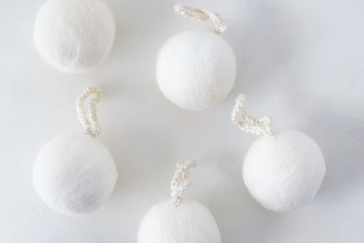 White Felted Wool Ornaments (Set of 5)