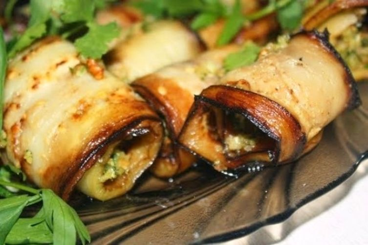 Eggplant Rolls with Walnuts, Spices and Herb Filling, Georgian Style