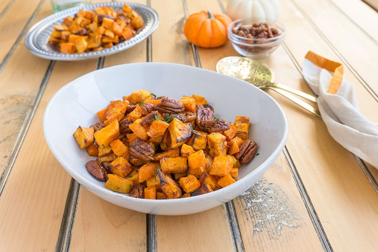 Roasted Sweet Potatoes with Apple Brandied Coconut Pecans