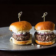 Lamb Sliders with Feta, Red Onions, and Cumin-Mayonnaise