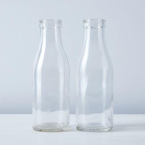 Vintage French Milk Bottles (Set of 2)