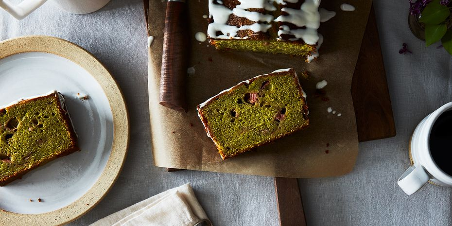 This matcha rhubarb loaf will still be good once this trend withers away