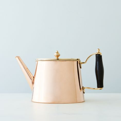 Vintage Copper Tea Pot with Ebony Handle, Early 19th Century