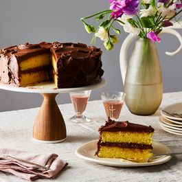 Yellow cake with chocolate frosting by Toby Arons