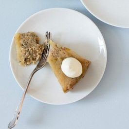 GREEN APPLE AND POPPY SEED UPSIDE-DOWN CAKE WITH HONEY AND CREME FRAICHE