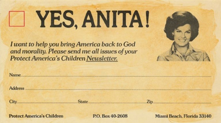 """Anita Bryant's """"Save Our Children"""" fundraising card."""