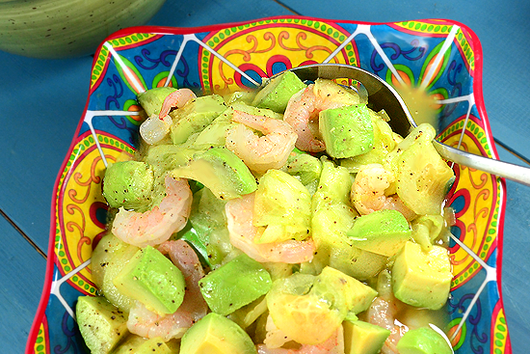 Spicy Shaved Cucumber Salad with Avocado and Shrimp